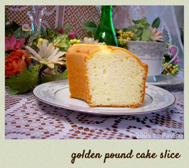 Golden pound cake slice